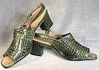 Vintage Pair of Green Faux Alligator Woman's Shoes