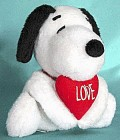Vintage Plush Snoopy with Red Heart