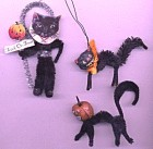 Vintage Halloween B;ack Cat Ornaments Set Of 3