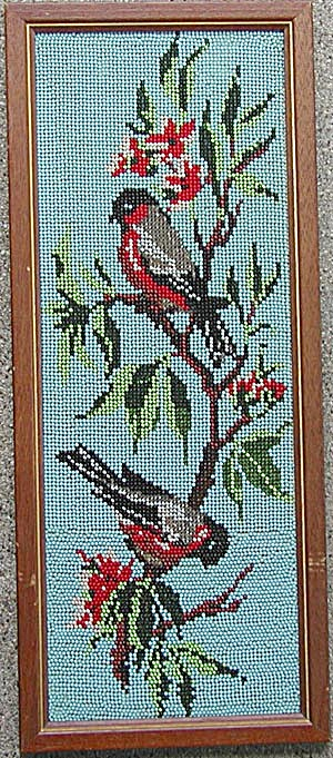 Vintage Framed Beaded Bird Picture