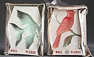 Vintage Cardinal & Fish Plaster Plaques (Image1)