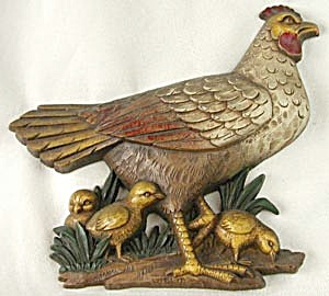 Vintage Hen Chicks & Rooster Wall Plaques