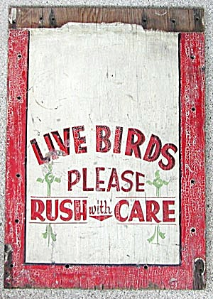 Vintage Hand Painted Wooden Bird Sign (Image1)