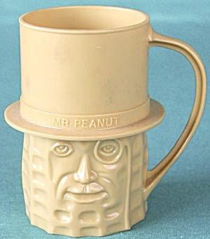 Vintage Mr. Peanut Tan Plastic Cup Mug (Image1)