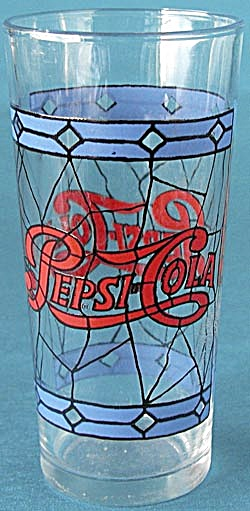 "Vintage Pepsi Cola ""Stained Glass"" Tumbler (Image1)"