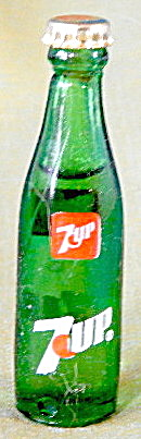 Vintage Glass 7-up mini Bottle With Metal Lid