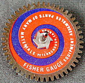 Vintage Fisher Gauge Advertising Gear Top