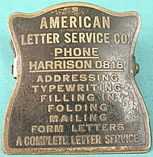 Brass American Letter Service Advertising Clip