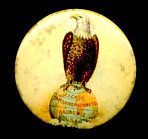 Vintage J. I. Case Threshing Machine Co. Pinback Eagle