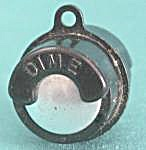 Vintage Black Plastic& Metal Barrel Coin Holder (Image1)