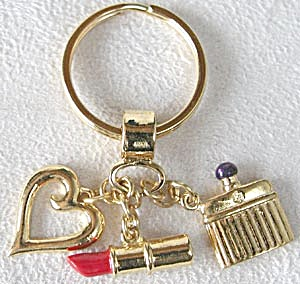Lipstick Heart & Perfume Bottle Keychain