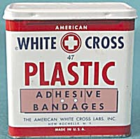 Vintage White Cross Plastic Adhesive Bandages Metal Tin