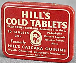 Vintage Hill's Cold Tablets Tin