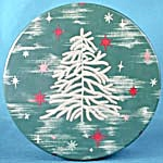 Vintage White Feather Christmas Tree Tin