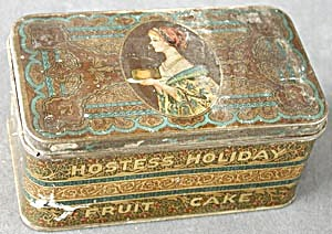 Vintage Hostess Fruit Cake Tin Canister (Image1)