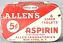 Vintage Allen's Aspirin Tin 6  5 Grain Tablets (Image1)