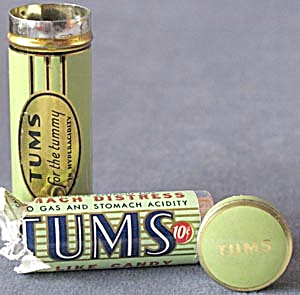 Vintage Green Tums Tin W/ A Push Bottom