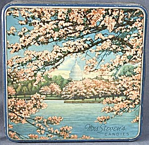 Vintage Mrs. Steven's Candies Cherry Blossom Tin (Image1)