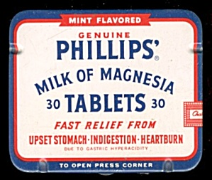 Vintage Tin Genuine Phillips Milk Of Magnesia Tablets