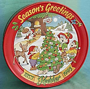 Vintage Christmas Keebler Season's Greeting Tin 1993
