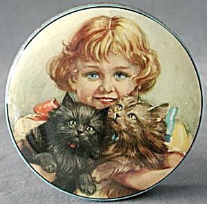 Vintage Thorne's Toffee Tin Girl With Kittens