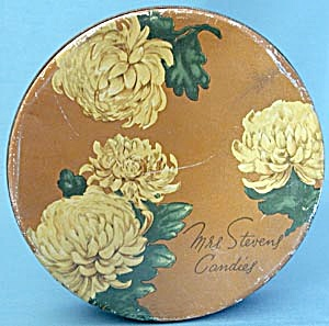 Vintage Mrs. Steven's Chrysanthemum Candies Tin