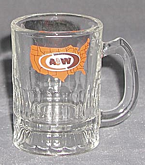 Vintage A & W Root Beer Mini Mug With Map