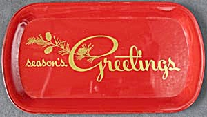 Vintage Red & Gold Metal Advertising Tray (Image1)