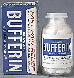 Vintage Bufferin Aspirin Glass Bottle & Box