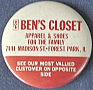 Vintage Ben's Closet Advertising Mirror