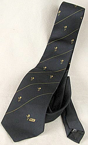 Vintage Bic Navy And Yellow Tie