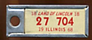 Key Chain: Vintage Miniature License Plate 1998