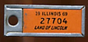 Key Chain: Vintage Miniature License Plate Orange