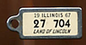 Key Chain: Vintage Miniature License Plate 1967