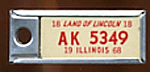 Vintage Miniature License Plate 1968 White & Red