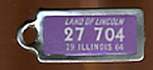 Key Chain: Vintage Miniature License Plate 1964