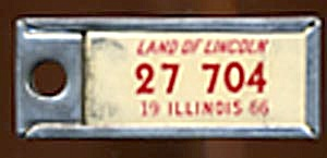 Key Chain: Vintage Miniature License Plate 1966 (Image1)