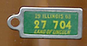 Key Chain: Vintage Miniature License Plate Green (Image1)