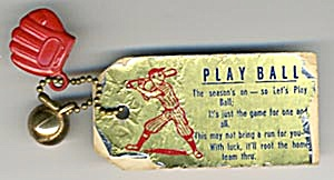 Vintage Baseball Glove & Ball Key Chain