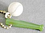 Vintage Bakelite Green Baseball Bat & White Baseball (Image1)