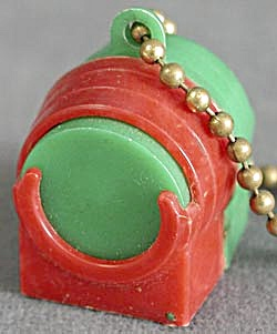 Vintage Red And Green Plastic Coin Holder Key Chain