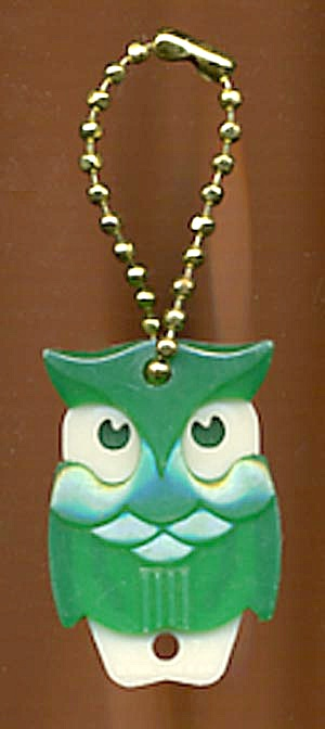 Key Chain: Vintage Pull Apart Green Owl