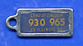 Key Chain: Vintage Miniature License Plate 1960