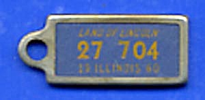 Key Chain: Vintage Miniature License Plate