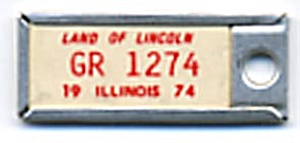 Key Chain: Vintage Miniature License Plate 1974