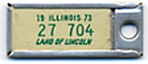 Key Chain: Vintage Miniature License Plate White
