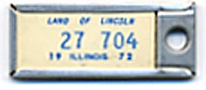 Key Chain: Vintage Miniature License Plate 1972 (Image1)
