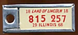 Vintage Miniature License Plate 1968 White