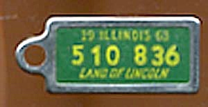 Key Chain: Vintage Miniature License Plate 1963