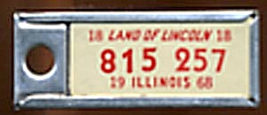 Key Chain: Vintage Miniature License Plate 1968